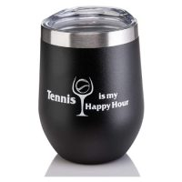 Tennis Addiction - Tennis Is My Happy Hour - Stainless Steel Stemless Tennis Wine Glass With Lid